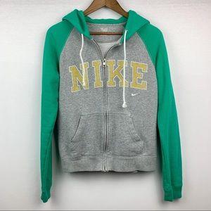 Nike Front Zip Green, Gray, Yellow Ladies Hoodie